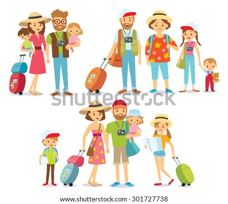 traveling family on vacation - stock vector
