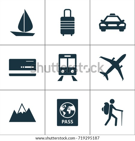 Traveling Icons Set. Collection Of Mount, Car, Railway Carriage And Other Elements. Also Includes Symbols Such As Traveler, Bank, Hill.