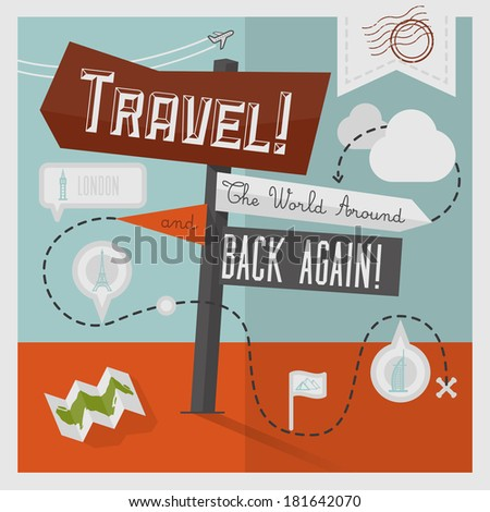 Traveling Illustration with Icons and Info graphic elements - stock vector