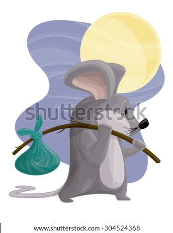 Traveling Mouse. Vector illustration of a small mouse carrying bag on a stick (hobo style).