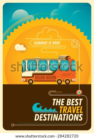 Traveling poster with bus. Vector illustration. - stock vector