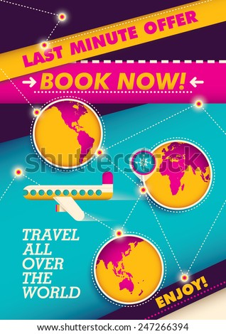Traveling poster with colorful elements. Vector illustration. - stock vector