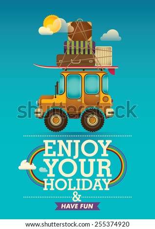 Traveling poster with jeep. Vector illustration. - stock vector