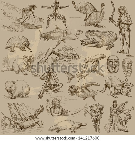 Traveling series: AUSTRALIA and Oceania  - collection of an hand drawn illustrations. Description: each drawing comprise of two or three layer of outlines, colored background is isolated. - stock vector