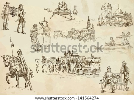Traveling series: CZECHOSLOVAKIA - collection of an hand drawn illustrations. Description: each drawing comprise of two or three layer of outlines, colored background is isolated.