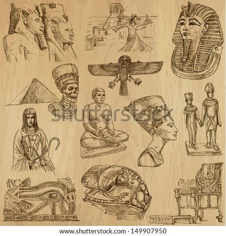 Traveling series: EGYPT - Collection of an hand drawn, original illustrations (no tracing !!!). Description: Each drawing comprise of two layers of outlines, colored background is isolated.