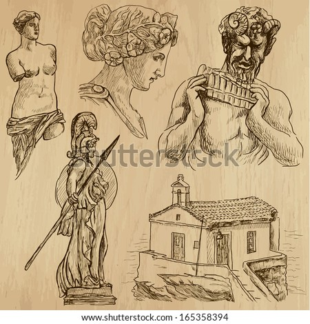 Traveling series: GREECE (set no.6) - Collection of hand drawn illustrations (originals, no tracing). Description: Each drawing comprises two layers of outlines, the colored background is isolated. - stock vector