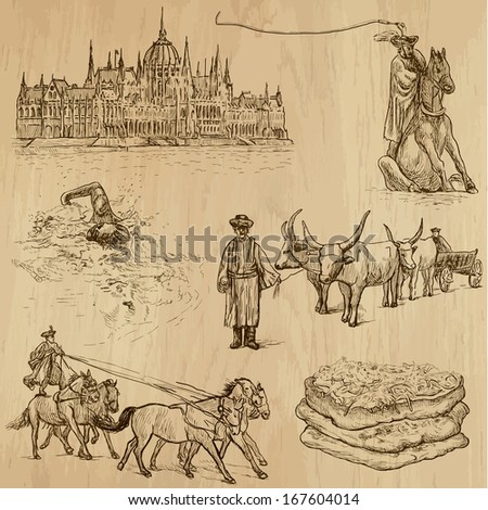 Traveling series: HUNGARY (set no.2) - Collection of hand drawn illustrations (originals, no tracing). Description: Each drawing comprises two layers of outlines, the colored background is isolated. - stock vector