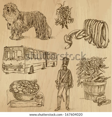 Traveling series: HUNGARY (set no.1) - Collection of hand drawn illustrations (originals, no tracing). Description: Each drawing comprises two layers of outlines, the colored background is isolated. - stock vector