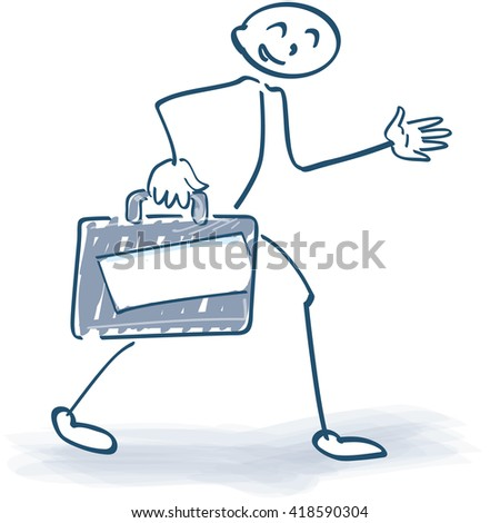Traveling stick figure with a big suitcase - stock vector