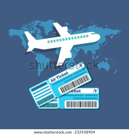 Traveling, Ticket booking concept. Flat design stylish. Isolated on color background - stock vector