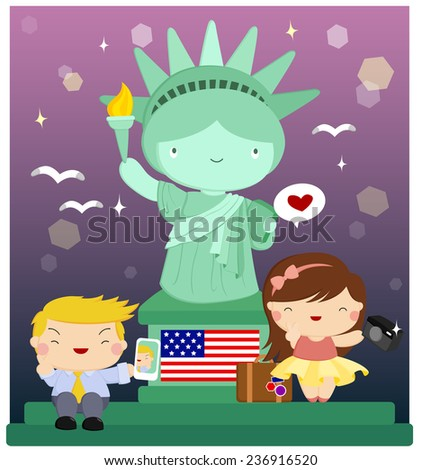 Traveling to Liberty Statue - stock vector