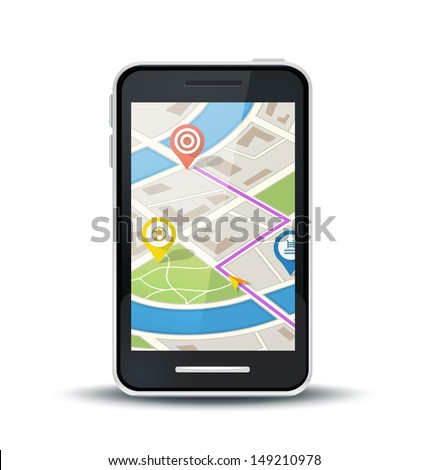 Traveling using application with location pins where points of interest are located. Route planning using GPS on smart phone.