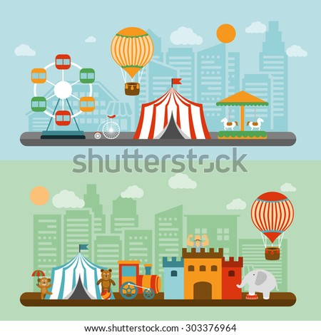 Travelling chapiteau circus tent in city nostalgic flat banners set  with elephant and strongman vector isolated illustration - stock vector