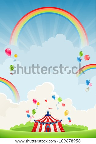 Travelling circus and rainbow with space for text - stock vector