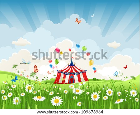 Travelling circus under blue sky - stock vector