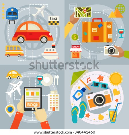Travelling & Tourism Concepts - Sightseeing and Shopping, Searching and Booking, Holidays and Vacation On the Beach, Transportation. banners collection in flat design styles - stock vector