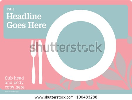 Tray matte Fl-yer Design Visual Layout Poster Template Restaurant - stock vector