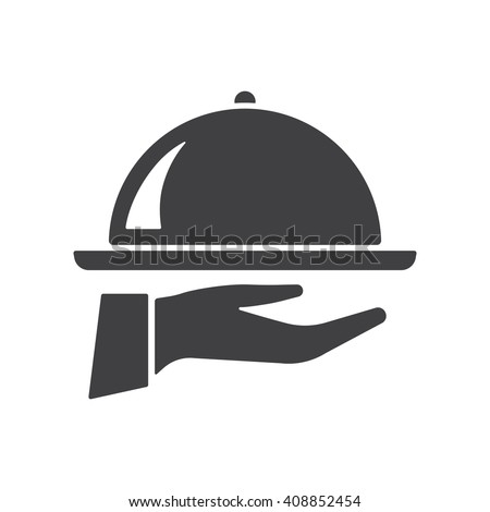 Tray on the hand icon Vector Illustration on the white background. - stock vector