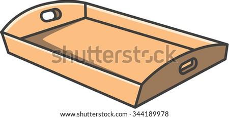 Tray vector cartoon illustration - stock vector