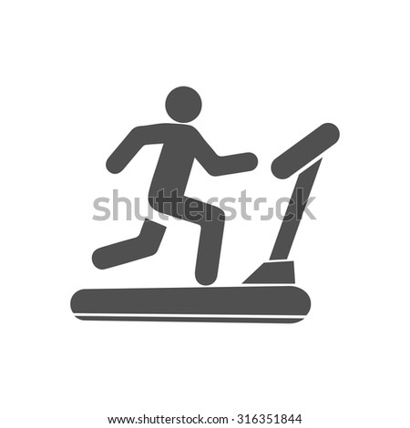 treadmill  icon - stock vector