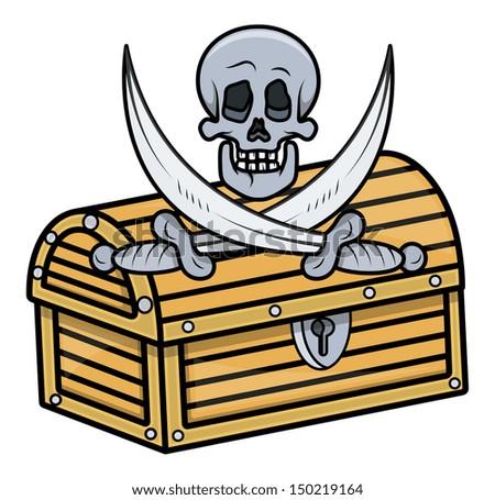 Treasure Box with Skull and Crossed Sword - Vector Cartoon Illustration - stock vector