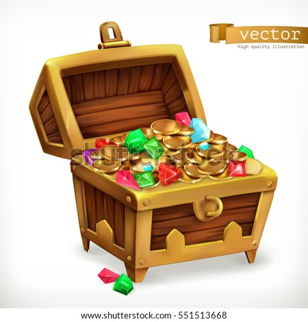 Treasure chest. Gems and gold coins, 3d vector icon