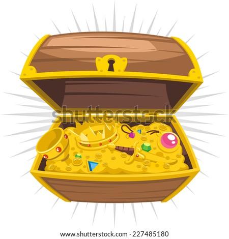 Treasure Chest Gold Wealth , vector illustration cartoon. - stock vector