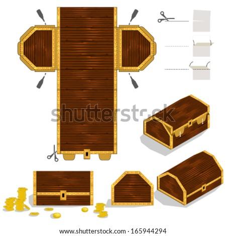 Treasure Chest Packaging Box Design - stock vector