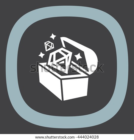 Treasure chest vector icon. Hidden gold and diamonds sign. Old pirate trunk symbol