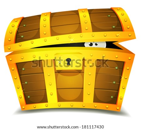 Treasure Chest With Creature Hiding Inside / Illustration of a cartoon treasure chest with funny creature eyes spying from inside - stock vector