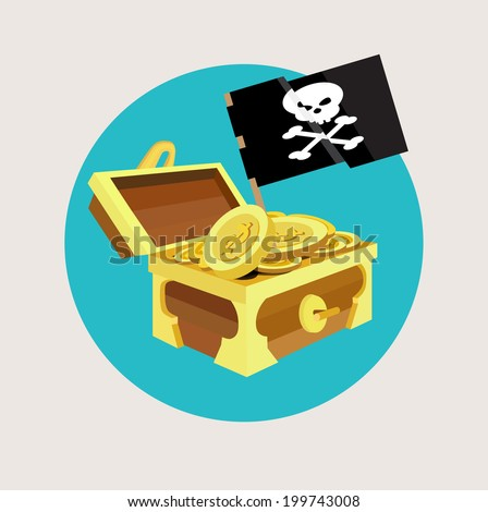 treasure chest with golden coins and pirate flat design - stock vector