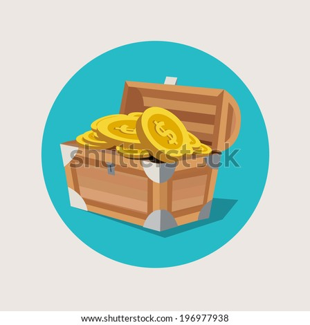 treasure chest with golden coins flat icon - stock vector