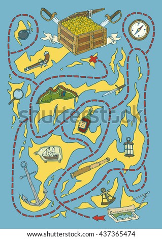 Treasure Island Maze Game with Pirate Supplies. Vector illustration