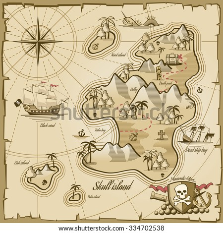 Treasure island vector map in hand drawn style. Sea adventure, ocean navigation, plan and path parchment, monster and chest illustration - stock vector