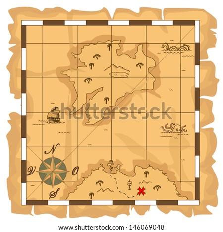 treasure map - stock vector