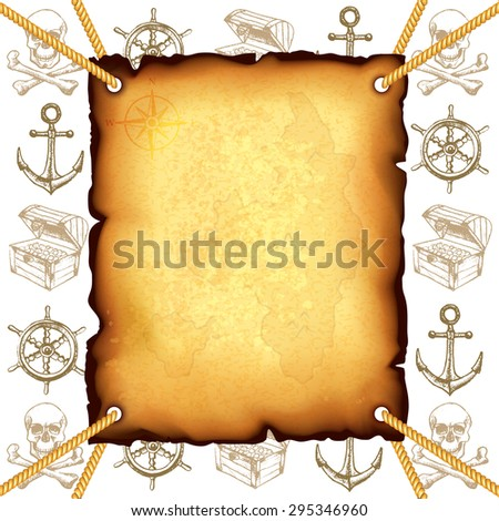 Treasure map and pirates symbols photo realistic vector background - stock vector
