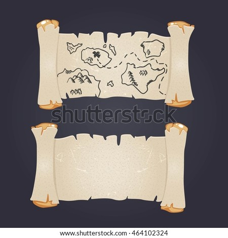 Treasure map on a dark background . Suitable for games and card invitation vector , eps 10