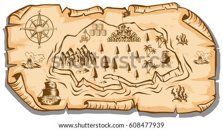 treasure map on brown paper illustration stock vector 608477939 rh shutterstock com treasure map vector free treasure map vector free