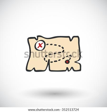 Treasure map sketch. Hand-drawn cartoon pirate icon. Doodle drawing. Vector illustration  - stock vector