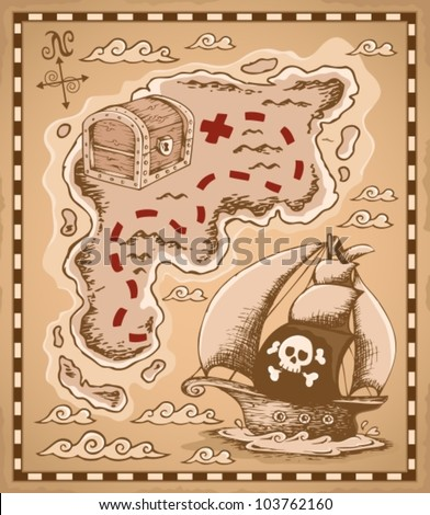 Treasure map theme image 1 - vector illustration. - stock vector