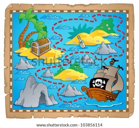 Treasure map theme image 3 - vector illustration. - stock vector