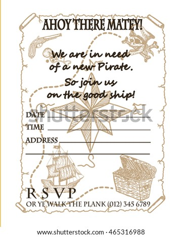 Treasure map vector pirate party invitation stock vector 465316988 treasure map vector pirate party invitation card design stopboris