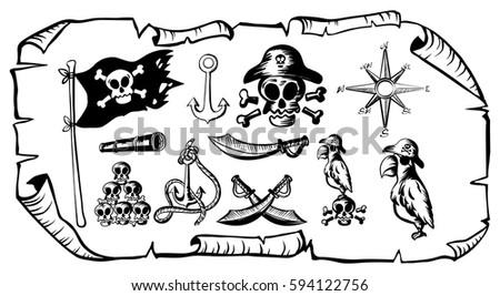 Treasure Map Many Pirate Symbols Illustration Stock Vector 594122756