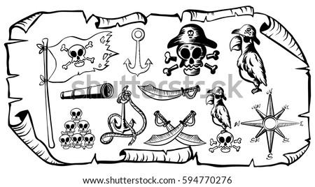 Treasure Map With Pirate Symbols Illustration