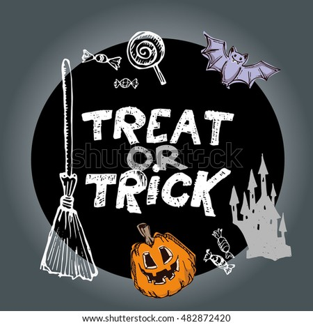Treat or trick. Halloween Castle. Halloween hand drawn  doodle illustration. Vector illustration.