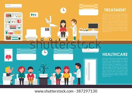 Treatment Healthcare flat hospital interior concept web vector illustration. Doctor, Nurse, Queue, Clinic. Medicine service - stock vector