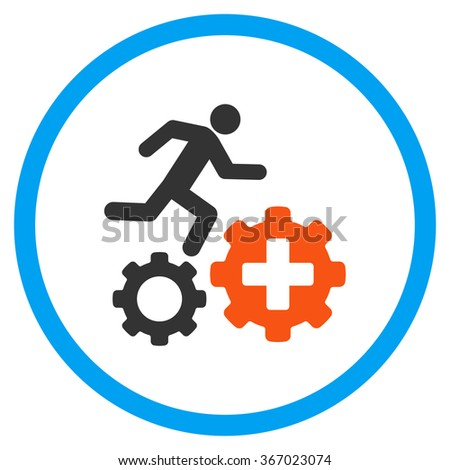 Treatment Process vector icon. Style is flat circled symbol, orange and blue colors, rounded angles, white background. - stock vector