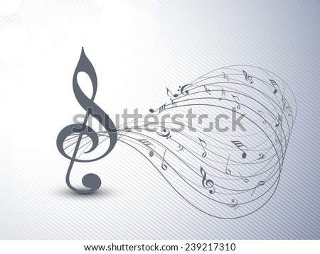 Treble clef and musical notes wave on seamless background. - stock vector