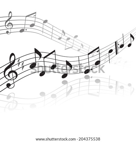 treble clef and notes on a stave with reflection - stock vector